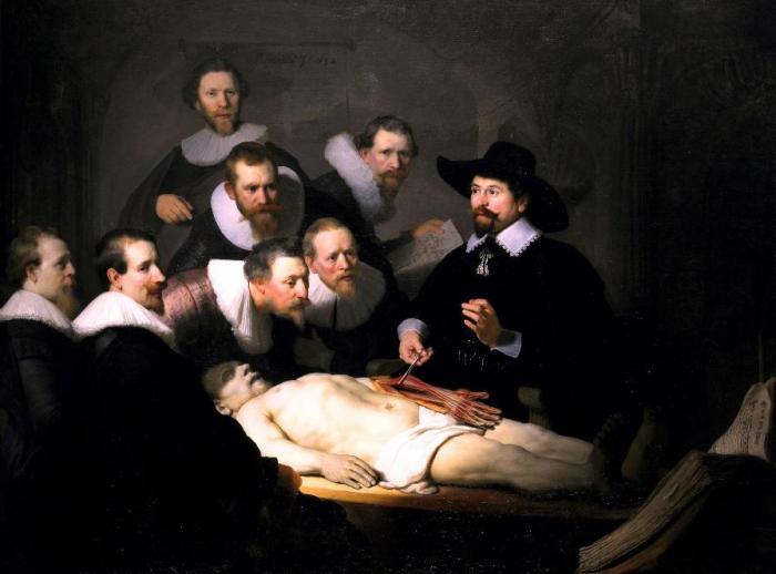 """Lekcja anatomii doktora Tulpa"", Rembrandt Van Rijn"